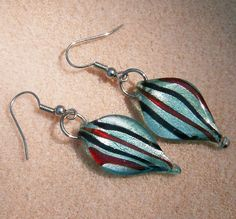Fused Glass Dangle Earrings Handmade Foiled by JewelryArtistry