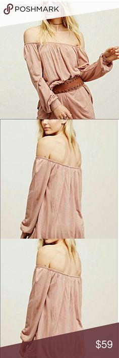 Free People Beach Romper 🍃 New un worn w/o tag but still has extra button tags attached never worn just like new super cute and soft blush color off shoulder so sweet for those warm nights ahead so cute for an evening out Free People Shorts