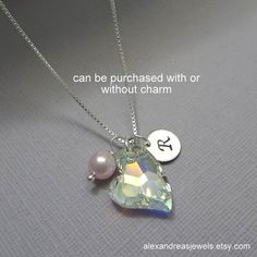 Sterling Silver Heart Necklace, Swarovski Crystal Heart Necklace, Personalized Sterling Silver Heart Necklace, Gift for Her, Gift for Mom