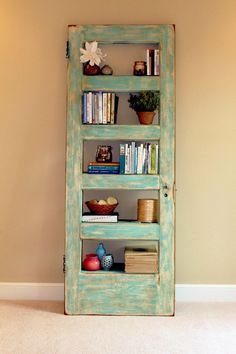 Add Old Doors to the Decoration of Your Home: They Look Fantastic! - Decoration and Fashion Dining Room Shelves, Room Divider Shelves, Laundry Room Shelves, Door Shelves, Shelving, Recycled Door, Repurposed, Creative Bookshelves, Bookshelf Ideas