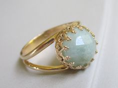 Aquamarine ring Birthstone ring Vintage ring by EldorTinaJewelry, $54.00