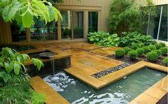 Jardim com fonte