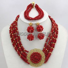 6-Row African Wedding Crystal Beads Jewelry Set,Nigerian Beaded Necklace Set