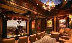 Cowboy Chic customer home theater installation. At Home Movie Theater, Home Theater Rooms, Home Theater Seating, Home Theater Design, Cinema Room, Dream Theater, Cinema Theatre, Broadway Theatre, Musical Theatre