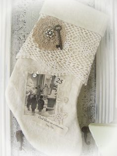 Handmade Christmas Stocking Winter White Vintage by QueenBe, $34.00