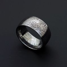 Genuine stainless Damascus Steel Mens Ring - Width 10 mm PD23