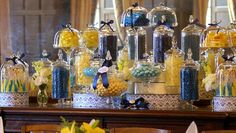 Midnight Blue and Yellow Candy Buffet by The Couture Candy Buffet Company, via Flickr  #candybuffet  #candy #dessertbuffet  #wedding    navy blue and yellow