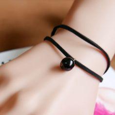 Famous Brand Bijoux Black beads Elastic Rope Leather Bracelets Bangles Heart Handwork Round Pendants Trendy Jewelry For Women