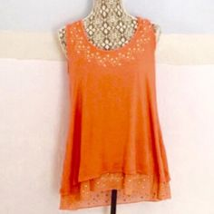 Style & Co Melon Orange Hi-Low top ☀️Final price☀️ This top is a large but could fit an XL\1X VERY EASY! SO stretchy and comfortable! Worn once. Perfect for work or a holiday occasion! Beautiful beading! Pretty shear material banded at the bottom. Gorgeous!!!  Style & Co Tops Blouses