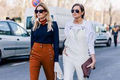 Camille Charrière + Danielle Bernstein before the Chloe Fall/Winter 2015-2016 fashion show in Paris, France