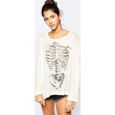 Wildfox - Beach House - T-shirt con ossa e margherite - Clwh asos grigio Poliestere