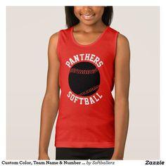 Custom Color, Team Name & Number Softball Tank Top #softball #tanktop #sleeveless #softballtanktop #summerleague #girl