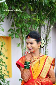 Traditional Marathi Bride in Yellow and Red Saree Marathi Bride, Marathi Wedding, Saree Wedding, Wedding Bride, Bride Photography, Indian Wedding Photography, Marriage Poses, Indian Bridal Photos, Wedding Stills