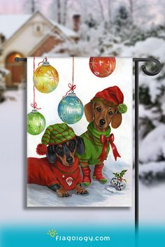 Get in the Christmas spirit with a flag featuring adorable dogs who showcase all of the joy and energy this season brings! Dachshund Ornaments Flag with art by Suzanne Renaud.