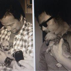 Flanery & Reedus holding puppies
