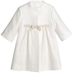 Girls Ivory & Gold Jaquard Dress Coat, Marie-Chantal, Girl