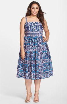 Taylor+Dresses+Boho+Print+Voile+Midi+Sundress+(Plus+Size)+available+at+#Nordstrom
