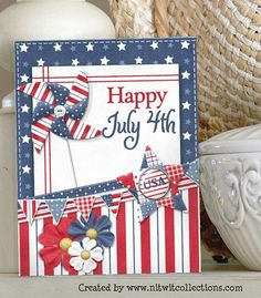 Patriotic Crafts, July Crafts, Americana Crafts, Patriotic Party, Military Cards, Military Quotes, Happy July, Star Cards, Scrapbook Cards