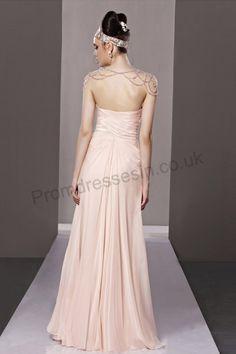Pink Strapless Chiffon Princess Evening Dress 2013