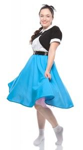 Hey Viv ! 50s style full circle skirts in pink, black, red, turquoise, and royal blue for chorus, theater, sock hops and 50s parties. Great for Grease and school plays – quick shipping.