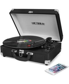 Innovative Technology Victrola Suitcase Record Player with Bluetooth - Black