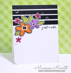 Most of you know that I have a weakness for florals and stripes, so this card by @maureenmerritt really speaks to me! #wplus9 You Equal Kind stamps and dies.
