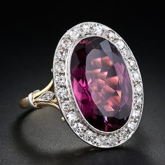 Vintage Large Raspberry Tourmaline and Diamond Ring
