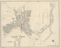 Map Of Capetown 1897 Art Print by Vintage Maps & Prints - X-Small Vintage Maps, Antique Maps, Cape Colony, Cape Town South Africa, Old Maps, Historical Pictures, African History, Cartography, Map Art