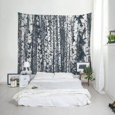 Wald Tapisserie Birke Baum Wandkunst Art Decor von Macrografiks