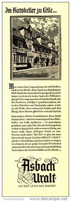 Original-Werbung/Inserat/ Anzeige 1953 - ASBACH URALT / RATHAUS CELLE - ca. 70 x 200 mm