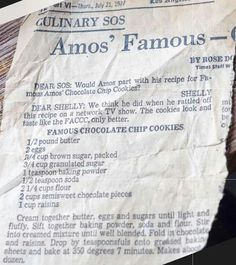 Famous Amos Chocolate chip cookie recipe from LA Times Famous Amos Chocolate Chip Cookies Recipe, Famous Amos Cookie Recipe, Chip Cookie Recipe, Chocolate Cookies, Cookie Recipes, Retro Recipes, Old Recipes, Vintage Recipes, Baking Recipes