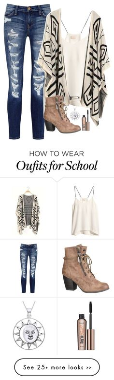 """first day of school is over! very similar to what I wore!"" by mads-thompson on Polyvore featuring moda, Current/Elliott, H&M, maurices, Carolina Glamour Collection y Benefit"