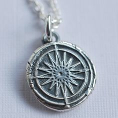 compass rose wax seal necklace charm... not all who wander are lost... wax seal jewelry in eco friendly fine silver