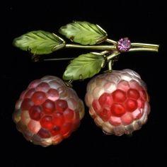 Austria Fruit Pin Vintage Glass Berries