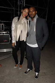 Kayne West and his fiancée, Alexis, at YSL S07