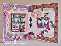 Fancy Label Accordion Card with Purple Onion Stamps - The Dining Room Drawers