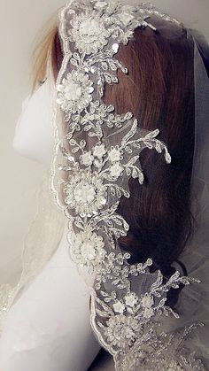 Iovry Alencon Lace Trim Luxury Pearl Beaded Sequined by Lacebeauty