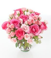 Pretty N Precious This Delicate Arrangement Includes Hot Pink Roses Light Spray