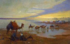 Caravane au soleil couchant lors des innondations du Nil von Edouard Edmond Doigneau