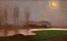 Mondrian Piet (Dutch, Nuit d'été Huile sur toile 710 x 1105 mm La Haye Nocturne, Piet Mondrian Artwork, Landscape Art, Landscape Paintings, Dutch Painters, Post Impressionism, Dutch Artists, Art Moderne, Western Art