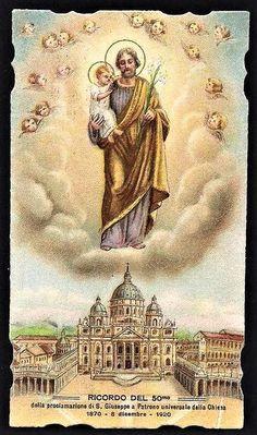 Catholic Prayers, Catholic Saints, Roman Catholic, Catholic Pictures, Pictures Of Jesus Christ, Vintage Holy Cards, Saint Joseph, Mary And Jesus, Disney Drawings
