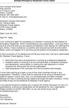 emergency dispatcher cover letter