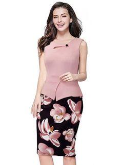 Poliéster Floral Sem magas Altura do Joelho Elegante Vestidos de                                                                                                                                                                                 Mais