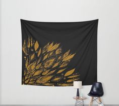 A personal favorite from my Etsy shop https://www.etsy.com/listing/459655512/gold-black-flower-wall-tapestry-black