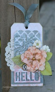 Prima & Pink Paislee were combined to create this lovely tag by @Sharon Laakkonen  #primapinkpaislee #watercolorfun