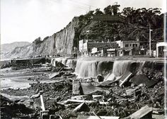 Flood damage where Santa Monica Canyon meets the coast highway at the Pacific Ocean, California History, Vintage California, Southern California, Flood Damage, City Of Angels, Water Damage, San Luis Obispo, Natural Disasters, Pacific Ocean