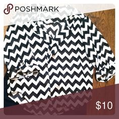 Sheer chevron blouse Black and white blouse - sheer fabric Tops Blouses