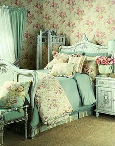 Shabby Chic Bedroom Decorating Ideas 24  painted headboard / bed love the comforter. aqua bedroom