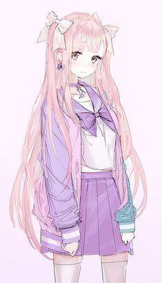♡~*ANiME ART*~♡ yumekawaii – fairy kei – seifuku – school uniform – sailor u… Pink Hair Anime, Anime Girl Pink, Cool Anime Girl, Pretty Anime Girl, Beautiful Anime Girl, Kawaii Anime Girl, Blue Anime, Anime Long Hair, Anime Angel Girl