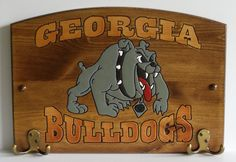 Georgia  Handcrafted Wood Plaque with Hooks  NCAA by TeamPlaques4U, $32.95